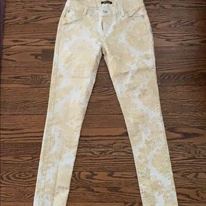 White and gold paisley jeans